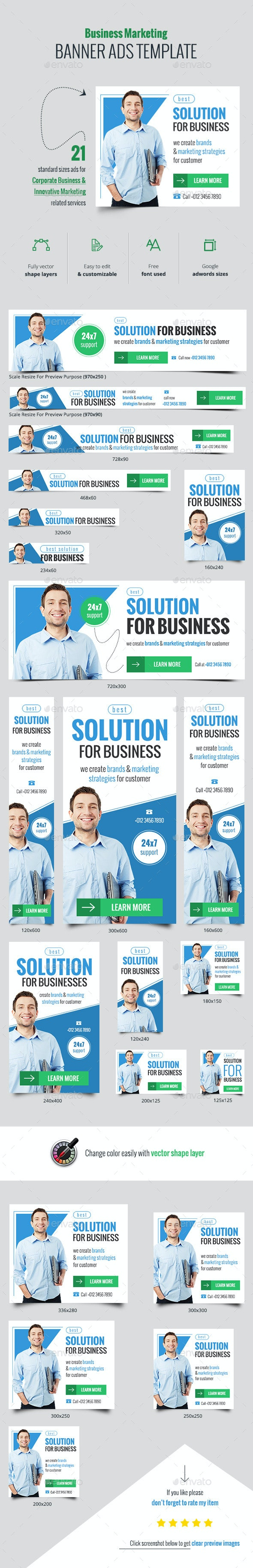 Business Marketing Web Banner Ads - Banners & Ads Web Elements