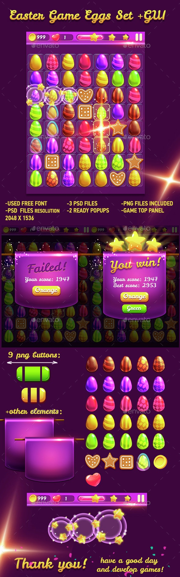 Easter Game Eggs Set and GUI - Game Kits Game Assets