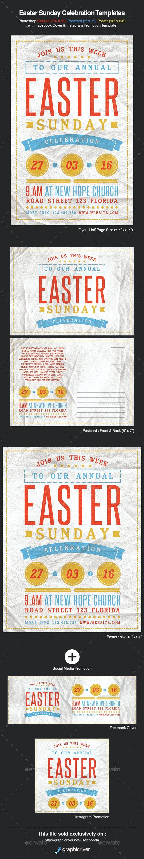 Easter Sunday Celebration Templates - Church Flyers