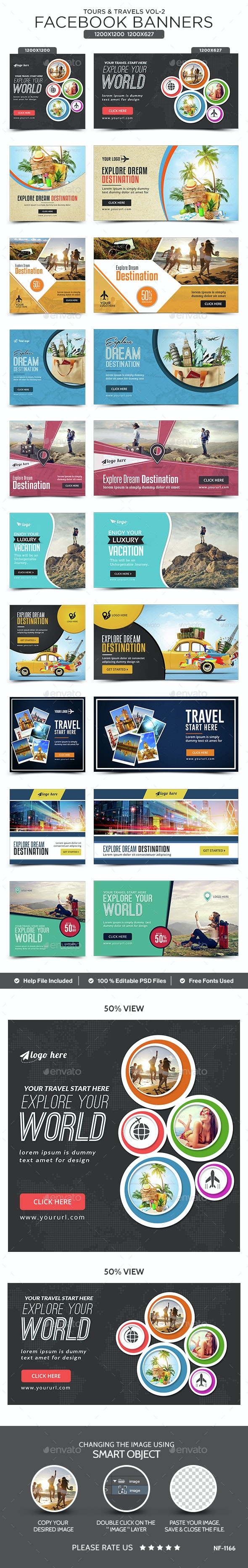 Tours & Travels Facebook Banners - 10 Designs - 20 Banners - Social Media Web Elements