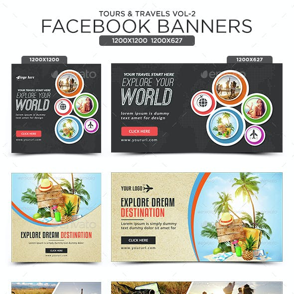 Tours & Travels Facebook Banners - 10 Designs - 20 Banners