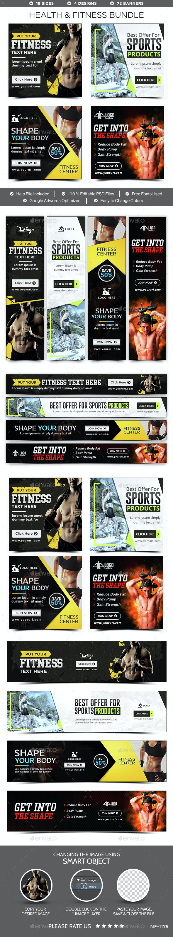 Health & Fitness Banners Bundle - 4 Sets - Banners & Ads Web Elements