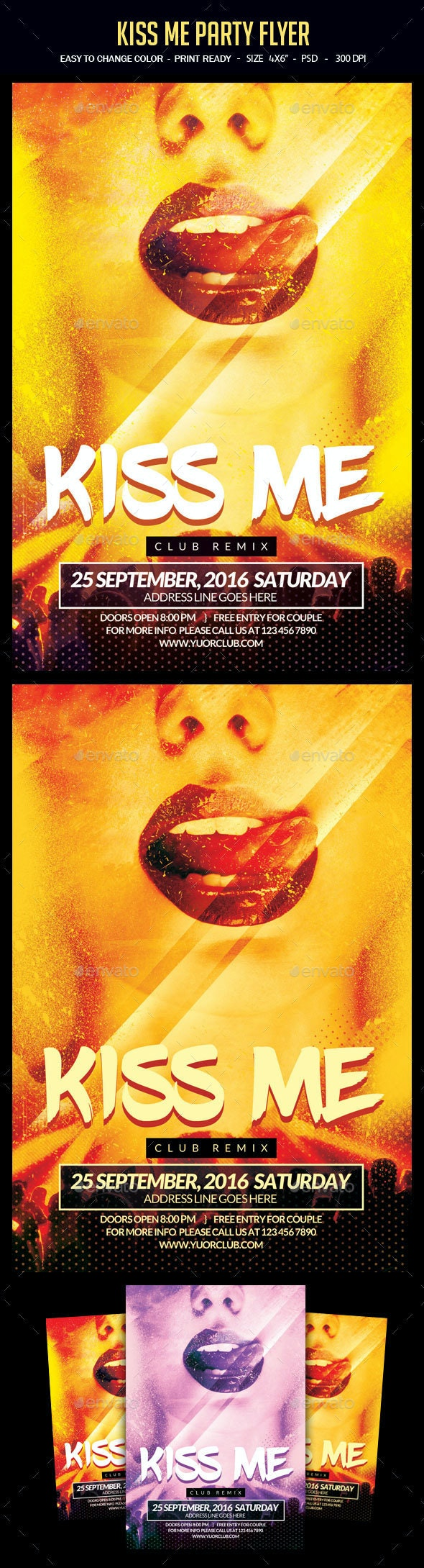 Kiss Me Party Flyer - Clubs & Parties Events