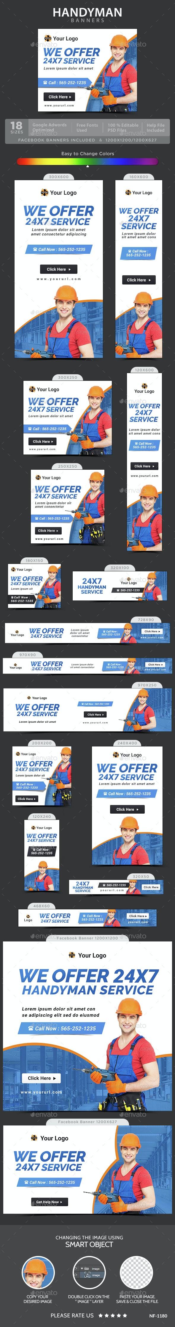 Handyman Banners - Banners & Ads Web Elements