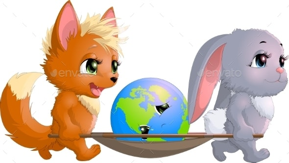 Fox and Hare Save the Planet - Animals Characters