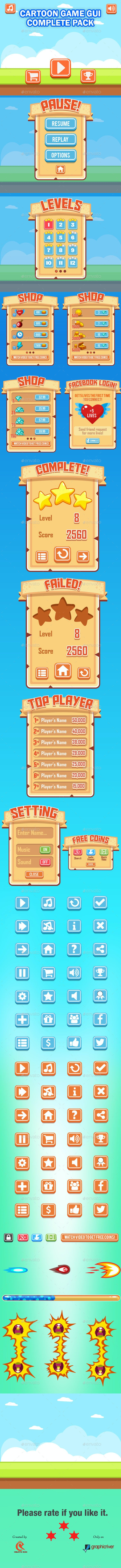 Cartoon Game UI - User Interfaces Game Assets