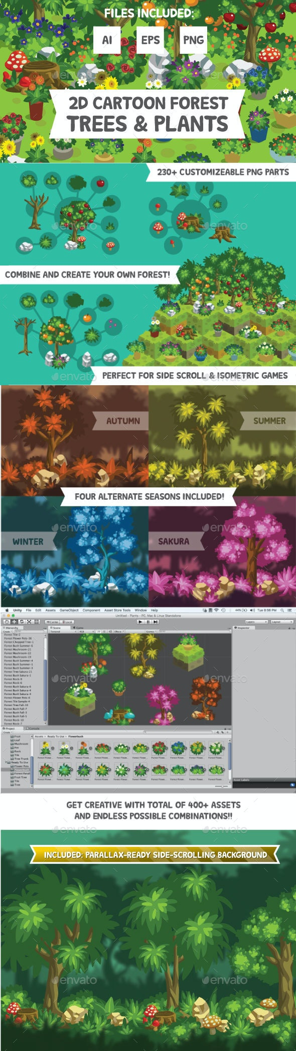 2D Cartoon Forest Trees & Plants - Miscellaneous Game Assets