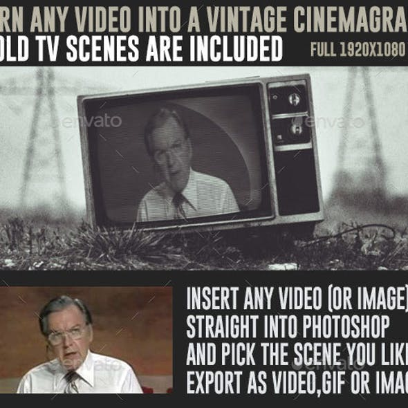 7 Old TV Sets Photoshop Cinemagraph Animated Mockup