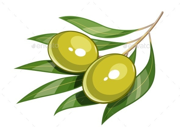 Pair of Green Olives - Food Objects