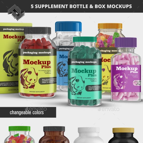 5 Supplement Bottle &  Box Mockups