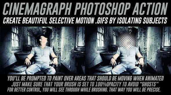 Cinemagraph Photoshop Action with Color Adjustment - Actions Photoshop