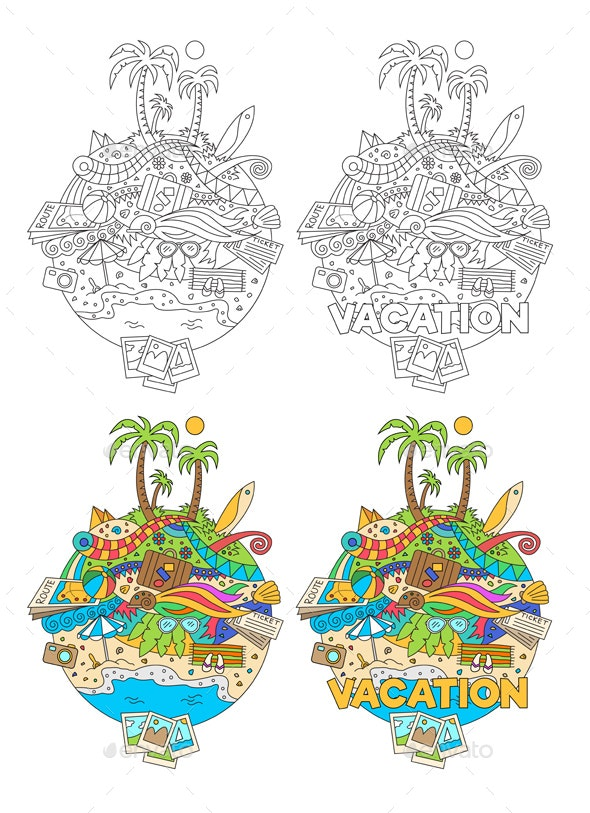 Doodle Summer Vacation Illustration - Travel Conceptual