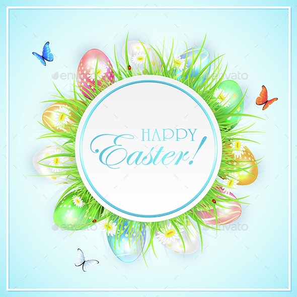 Easter Banner with Colorful Eggs in Grass and Butterflies - Miscellaneous Seasons/Holidays