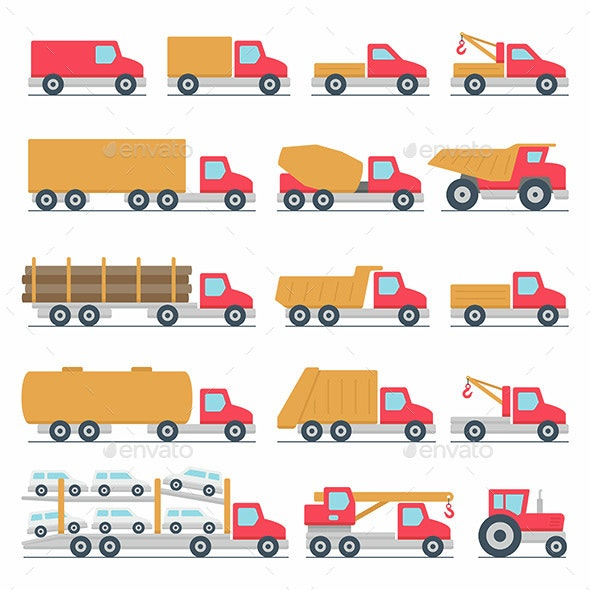 Trucks Icons Set - Man-made Objects Objects