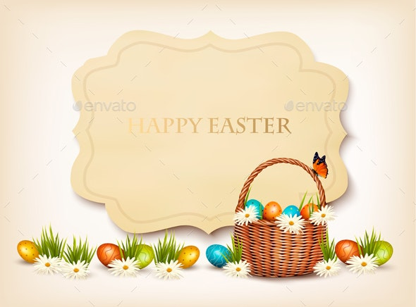 Happy Easter Background Eggs in a Basket - Miscellaneous Seasons/Holidays
