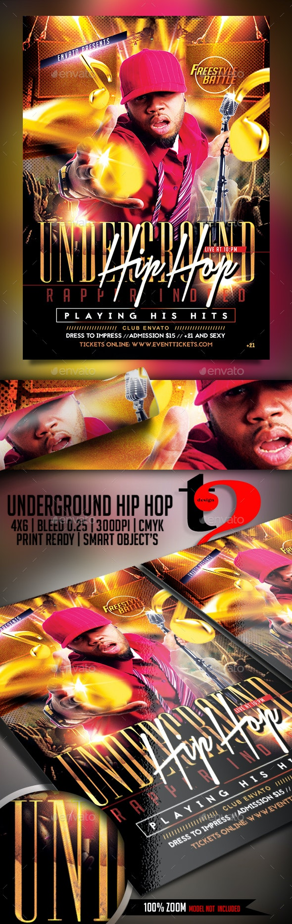 Underground Hip Hop Flyer - Clubs & Parties Events