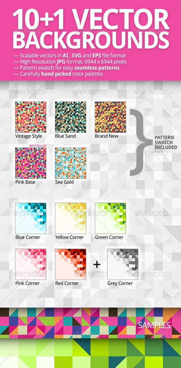 10+1 Vector Backgrounds Pack - Backgrounds Decorative
