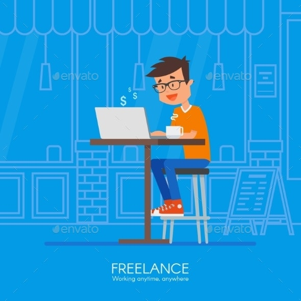 Male Freelancer Working Remotely From His Desk - Miscellaneous Conceptual