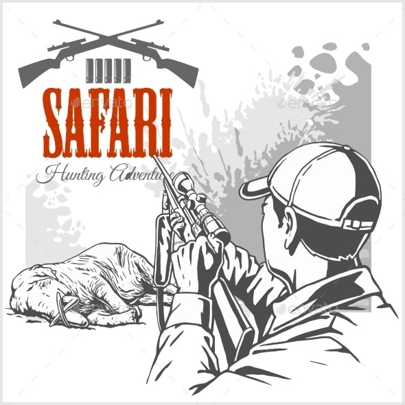 African Safari  Illustration and Labels - Animals Characters