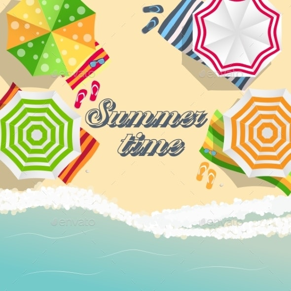Summer Time Background. Sunny Beach In Flat Design - Travel Conceptual