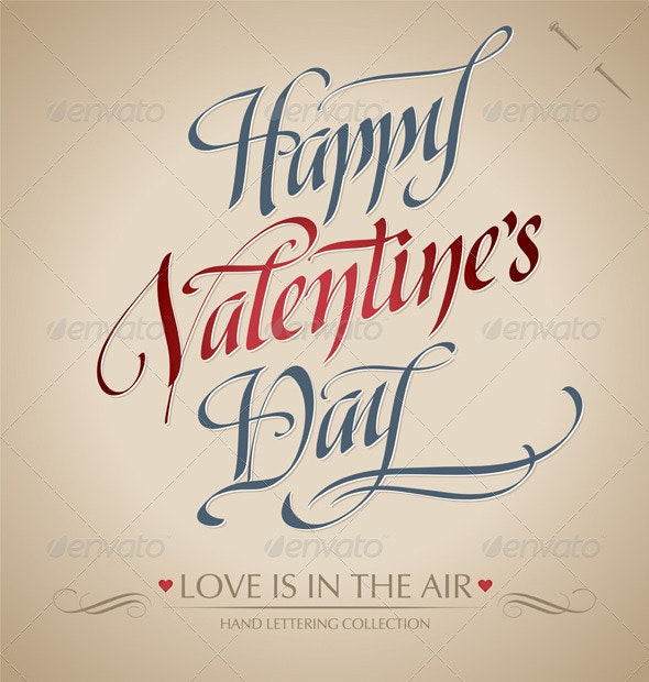 'Happy Valentine's Day' Hand Lettering (vector) - Valentines Seasons/Holidays