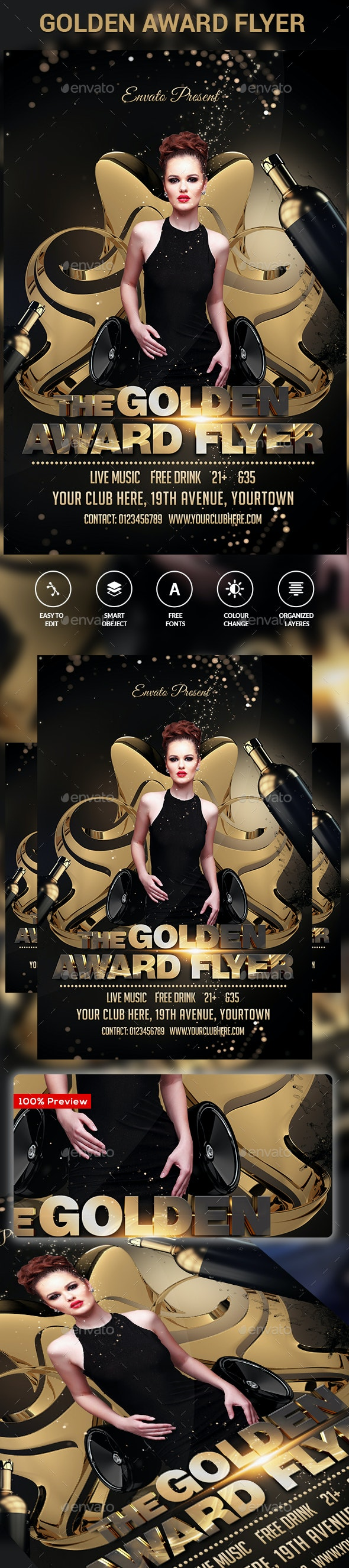 The Golden Awards Flyer  - Clubs & Parties Events