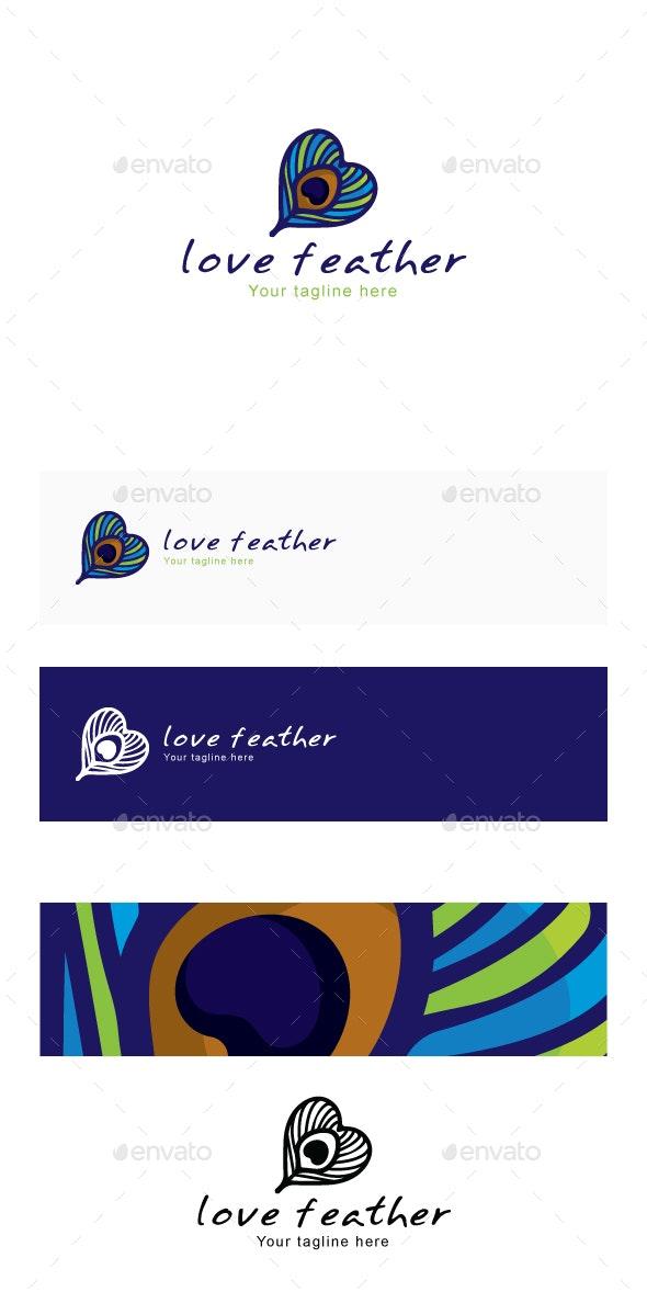 Love Feather - Peacock Bird Quill Creative Stock Logo Template - Abstract Logo Templates