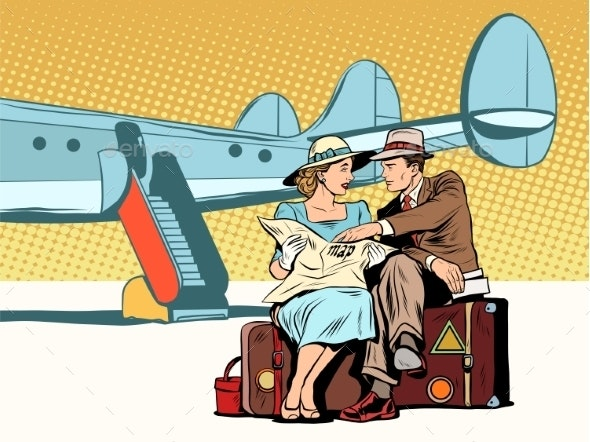 Tourists Couple Looking at the Map After Landing - Travel Conceptual