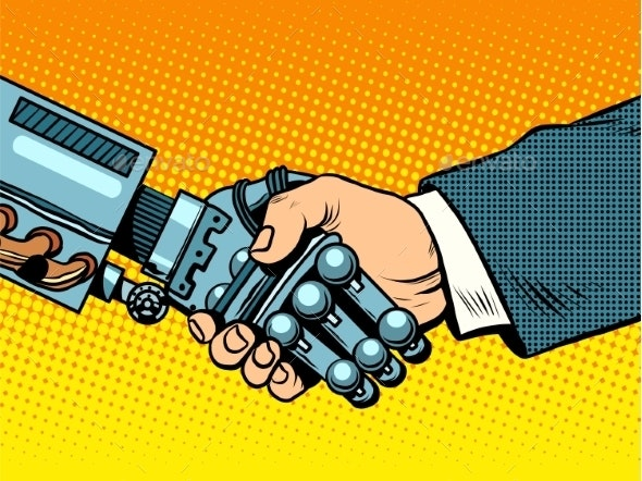 Handshake of Robot and Man New Technologies - Retro Technology