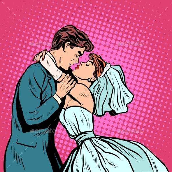 Bride and Groom First Kiss - Weddings Seasons/Holidays