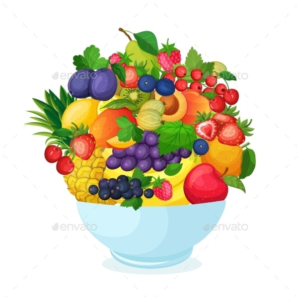 Bowl of Cartoon Fresh  Fruit and Berries - Food Objects