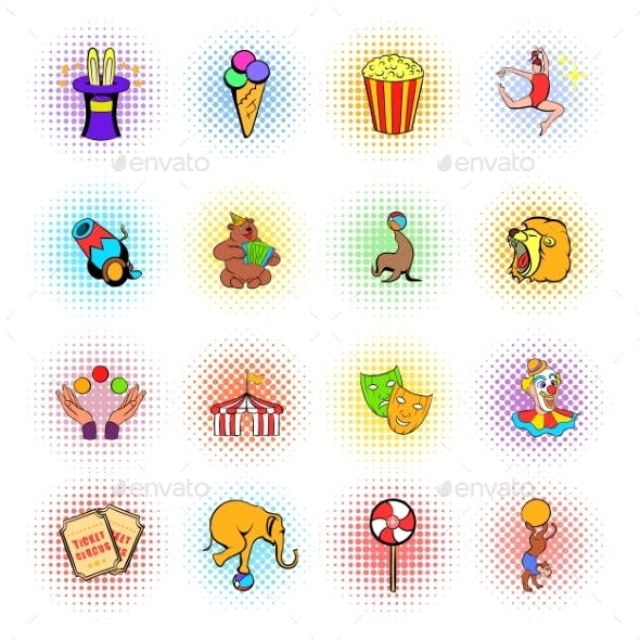 Circus Comics Icons Set