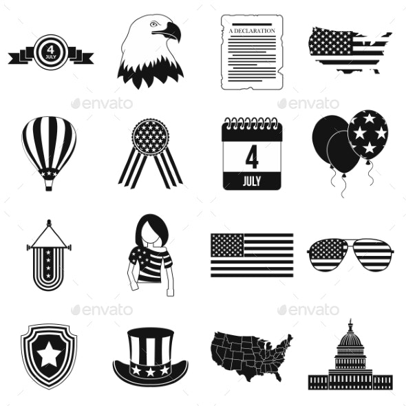 Independence Day Black Simple Icons - Miscellaneous Icons
