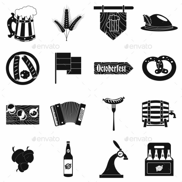 Oktoberfest Party Black Simple Icons - Miscellaneous Icons
