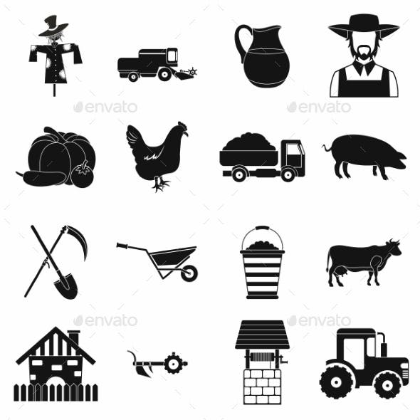 Farm Black Simple Icons Set
