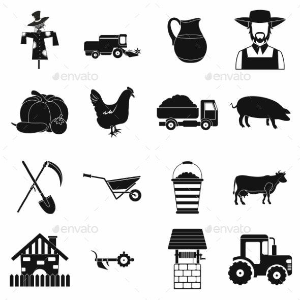 Farm Black Simple Icons Set - Miscellaneous Icons