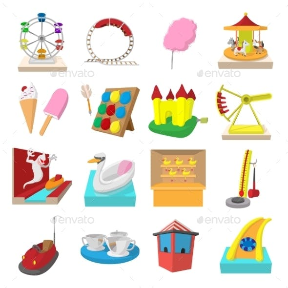 Amusement Park Cartoon Icons