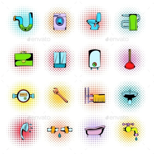 Sanitary Engineering Comics Icons