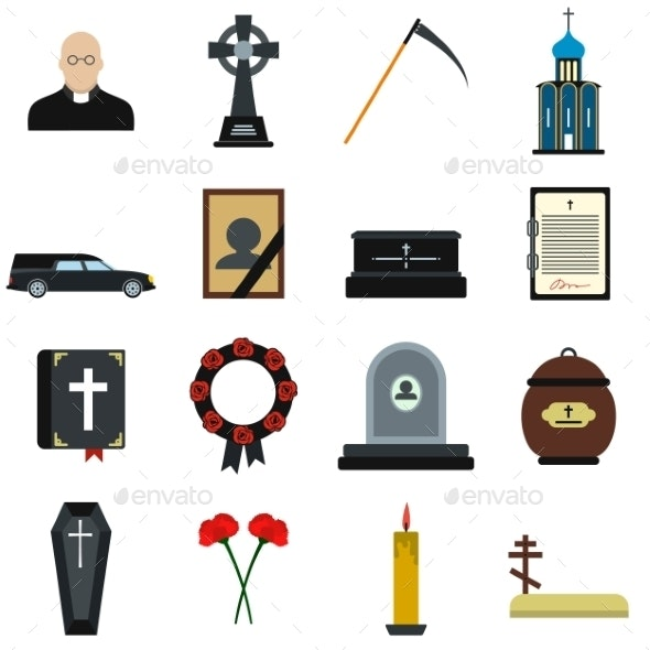 Funeral And Burial Flat Icons - Miscellaneous Icons