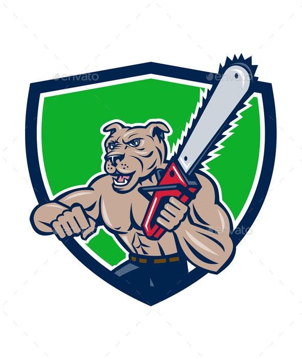 Mongrel Lumberjack Tree Surgeon Arborist Chainsaw Crest - Animals Characters