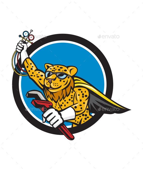 Refrigeration Mechanic Leopard Superhero Circle Cartoon - Animals Characters