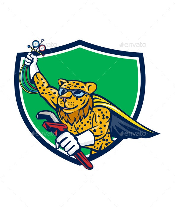 Refrigeration Mechanic Leopard Superhero Crest Cartoon - Animals Characters