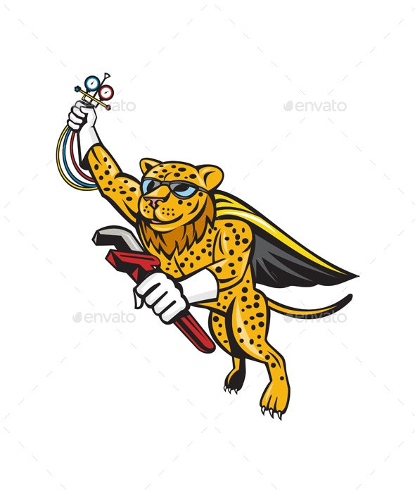 Refrigeration Mechanic Leopard Superhero Cartoon - Animals Characters