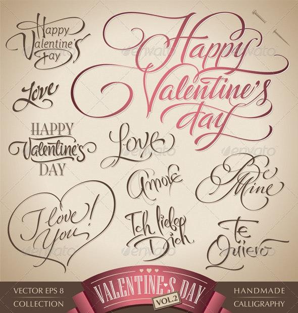 Valentine's Hand Lettering Set (vector) - Valentines Seasons/Holidays