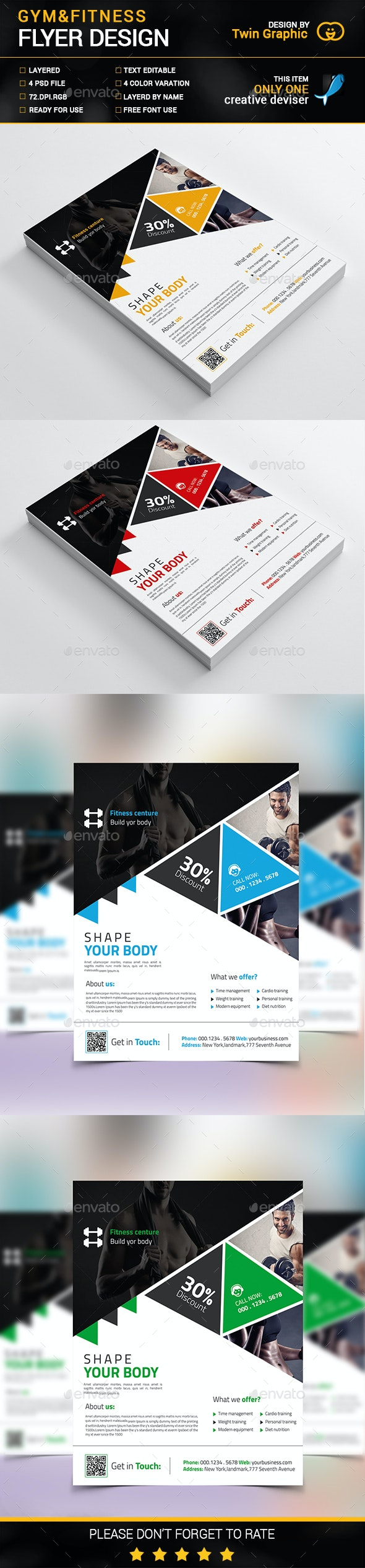 Gym&Fitness Flyer Design - Corporate Flyers