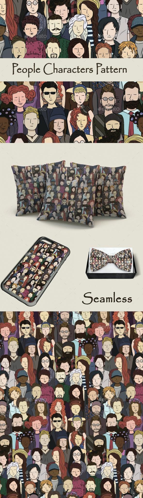 People Characters Seamless Pattern - Patterns Decorative