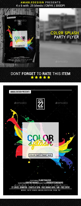 Color Splash Flyer/Poster - Clubs & Parties Events