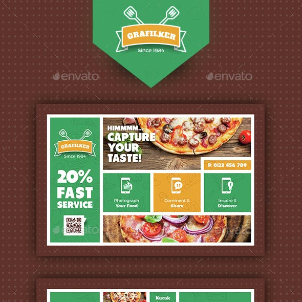 Pizza App Postcard Templates