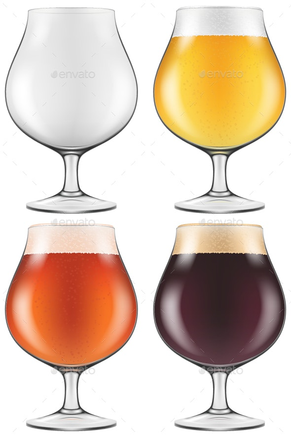 Elegant Craft Beer Glass in Four Versions - Food Objects