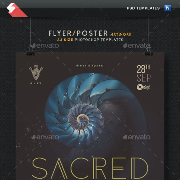 Sacred Session - Minimal Techno Party Poster Template A3